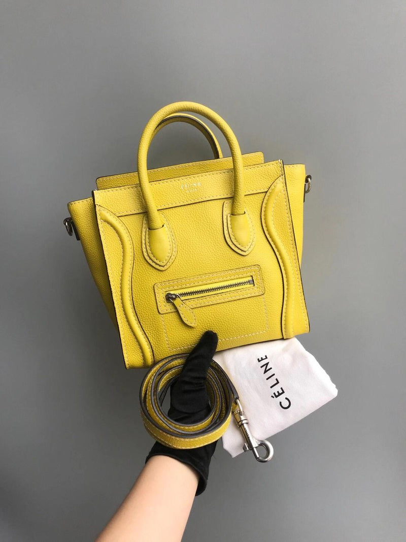 Yellow Leather Nano Luggage Tote