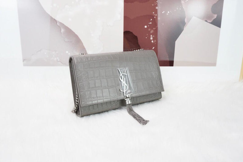 Classic Monogram Kate Tassel Satchel in Grey Crocodile Embossed Leather