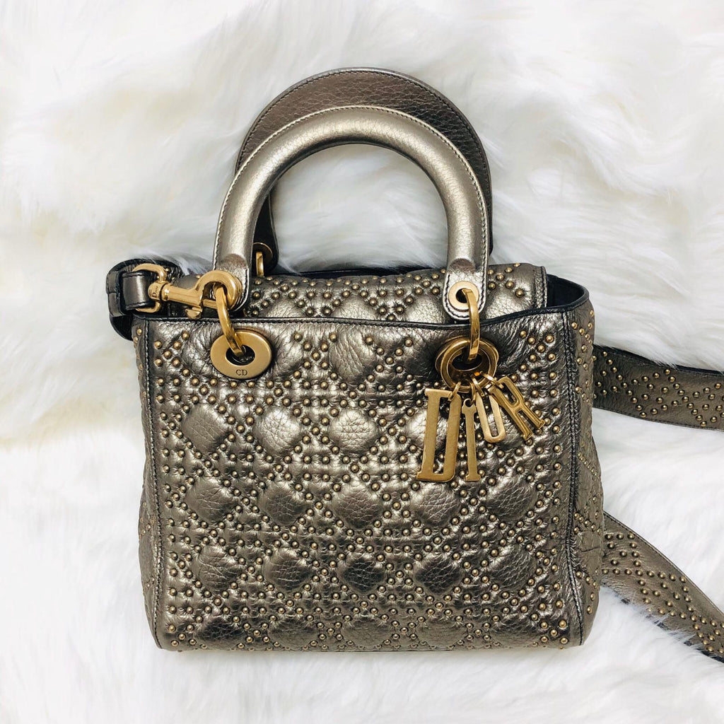 Studded Supple Lady Dior Medium Tote in Gold