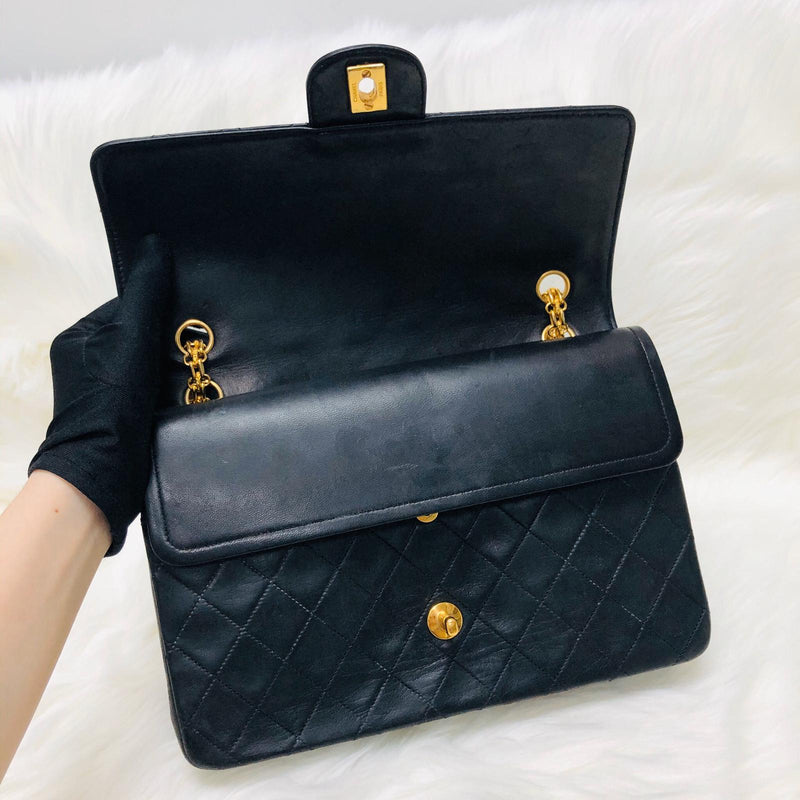 Mademoiselle Vintage Double Flap Medium in Black Lambskin with GHW with Reissue Strap