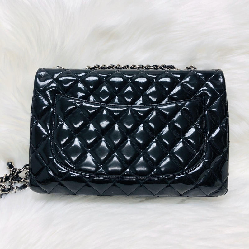 Jumbo Quilted Patent Single Flap Bag in Black with SHW