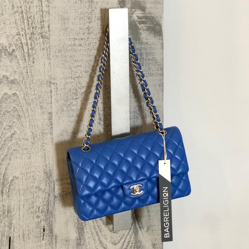 Medium Double Flap Lambskin Classic Bag with Light GHW in Electric Blue