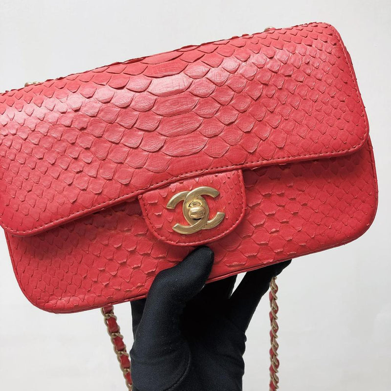 Classic Flap Mini Bag Python Leather Red