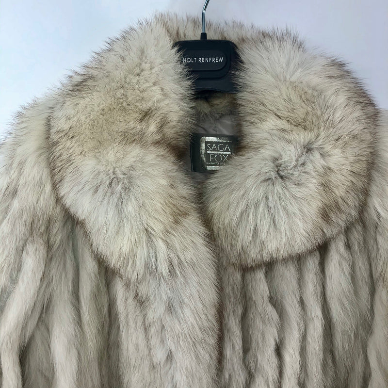 Blue Fox Fur Coat in White - Bag Religion