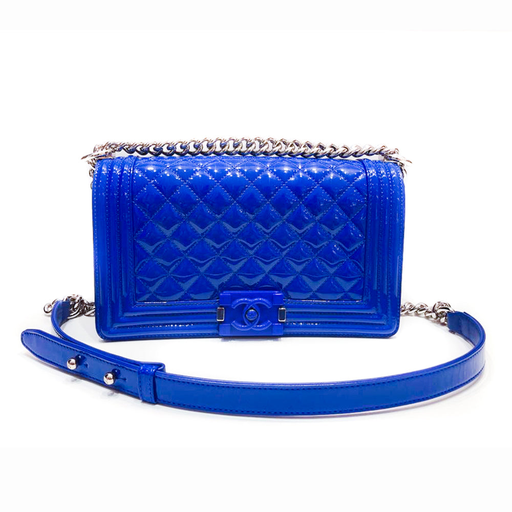 Medium Boy Bag in Blue Patent Leather with SHW - Bag Religion