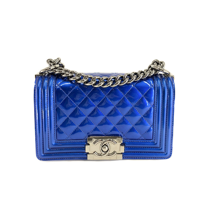 Small Boy Bag in Blue Patent Leather - Bag Religion