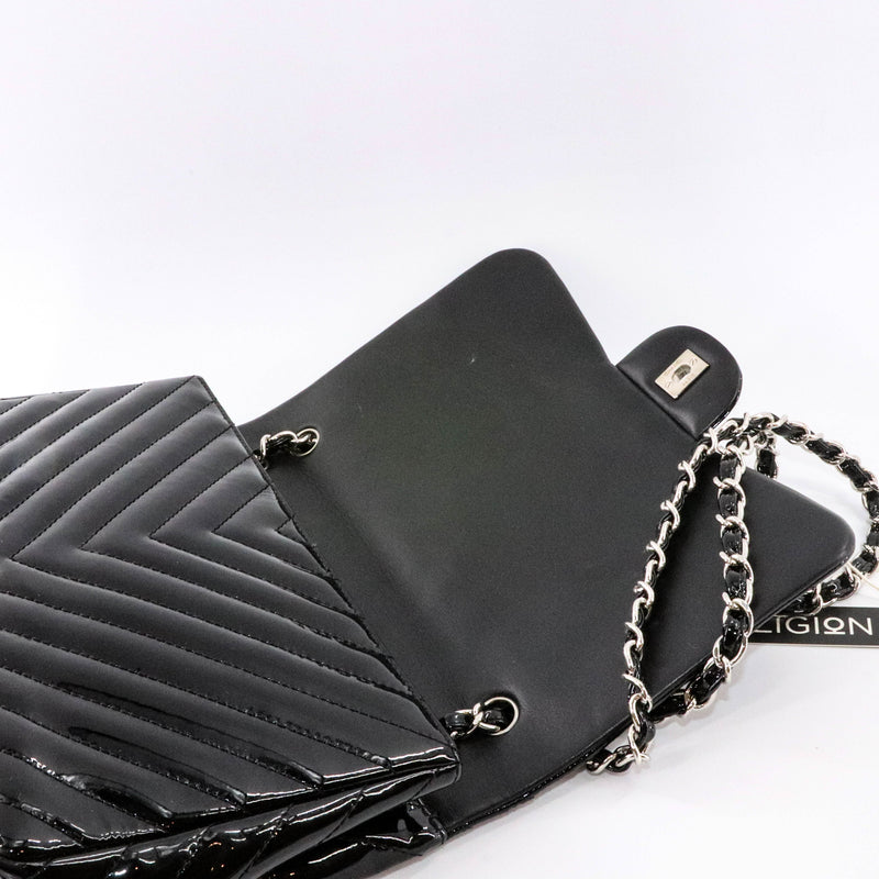 Classic Jumbo in Chevron Patent Leather with SWH Black - Bag Religion