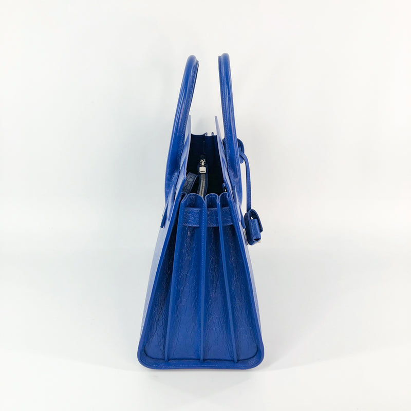 Sac De Jour Small in Embossed Croc Electric Blue - Bag Religion