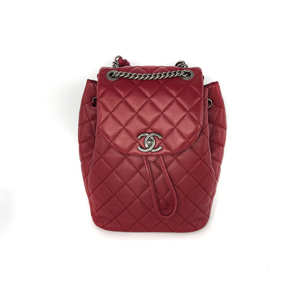 Quilted Backpack in Deep Red - Bag Religion