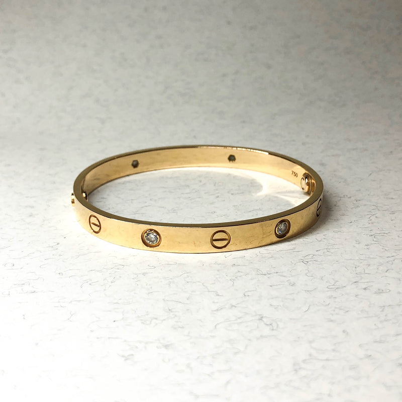 Love Bracelet Yellow Gold with 4 Diamonds (Size 17) - Bag Religion