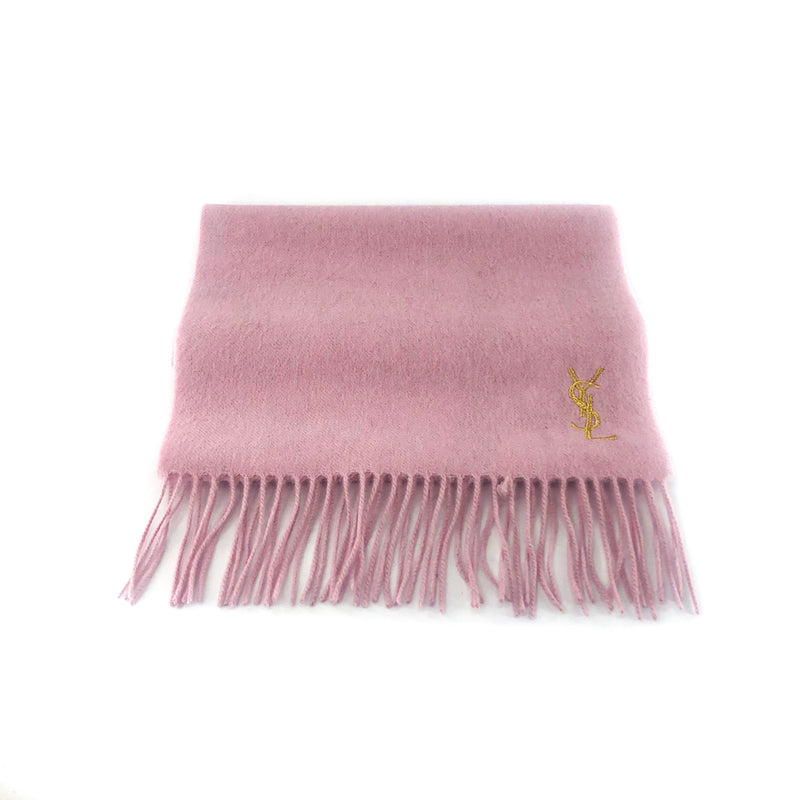 Pure Wool Pink Scarf with Gold YSL Monogram - Bag Religion