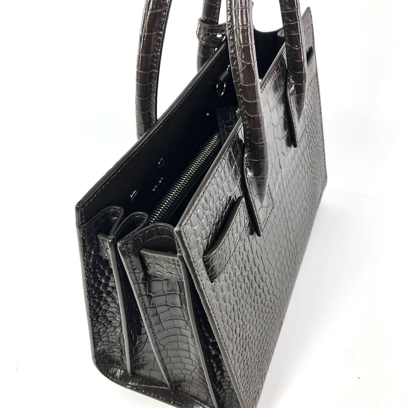 Sac De Jour Baby in Embossed Croc Dark Brown Tote - Bag Religion