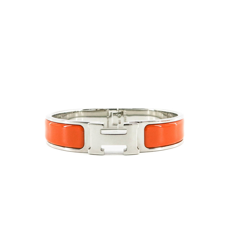 Orange Clic H Bracelet in Gold Plated Enamel Bracelet Size PM - Bag Religion