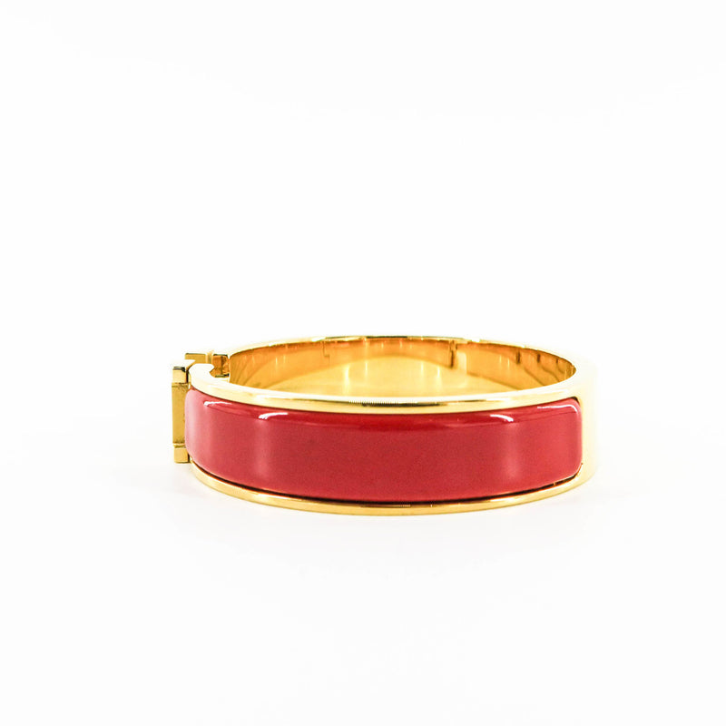 Red Clic H Bracelet in Gold Plated Enamel Bracelet Size PM - Bag Religion