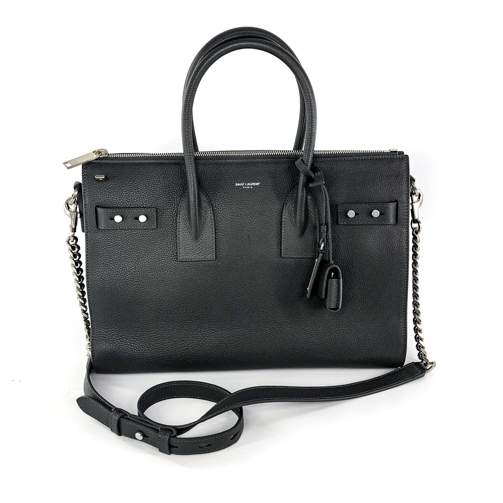 Sac De Jour Grained Calfskin Dark Grey Zip Tote Satchel - Bag Religion