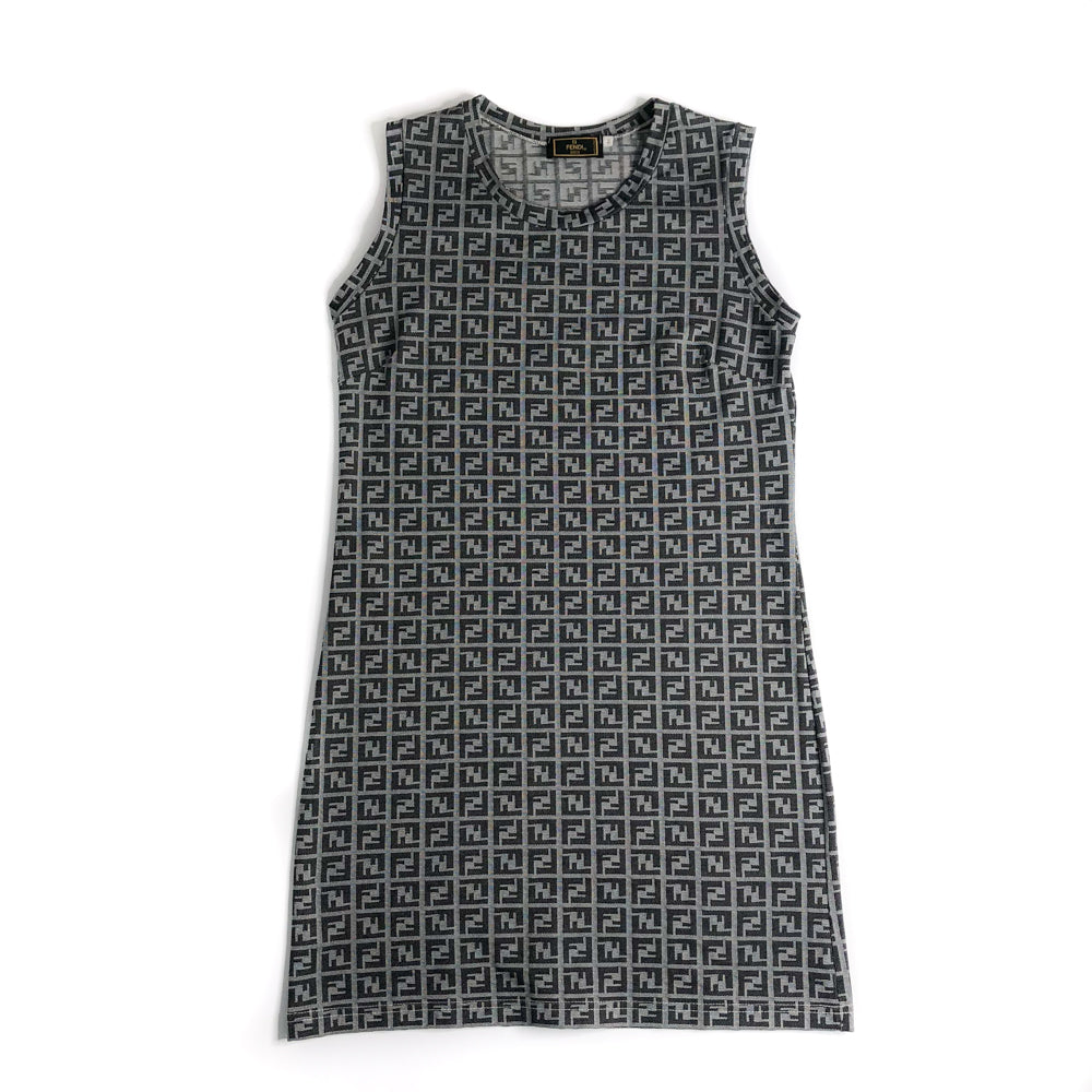 Vintage Zucchino Pattern Sleeveless Dress in Dark Grey - Bag Religion