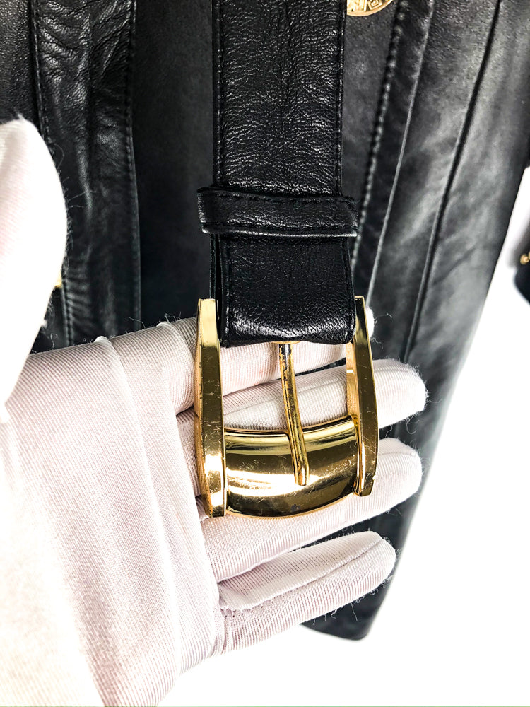 Versace for H&M Leather Trench Coat with Gold details - Bag Religion