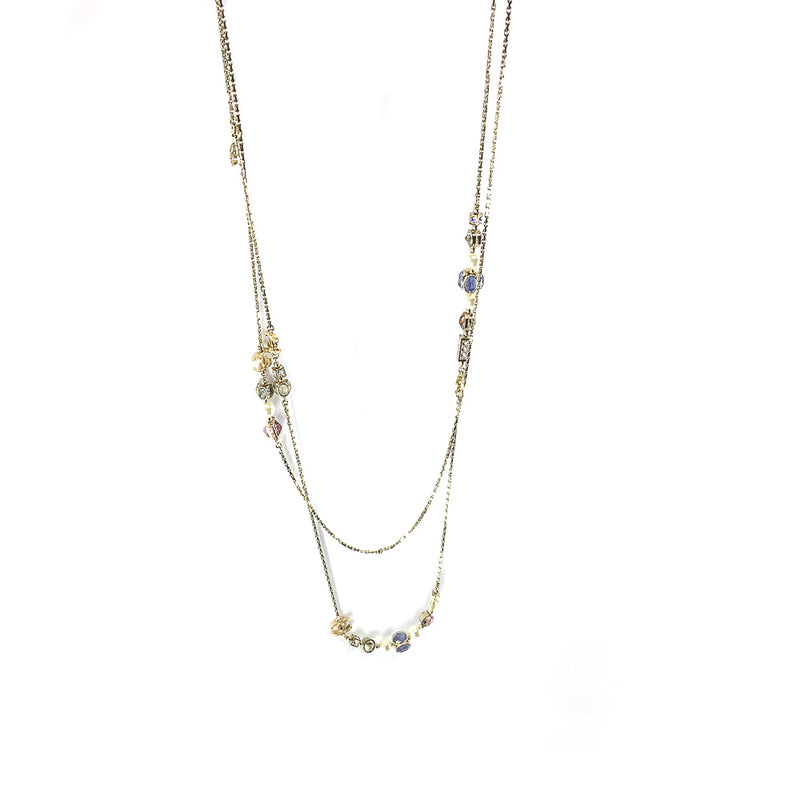 Long Necklace with CC Logo, Pearls and Crystals - Bag Religion