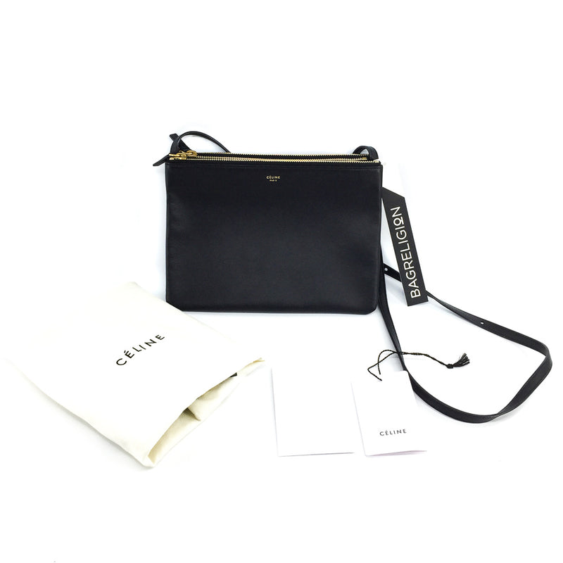 Small Céline Trio Black in Smooth Lambskin with Gold Hardware - Bag Religion