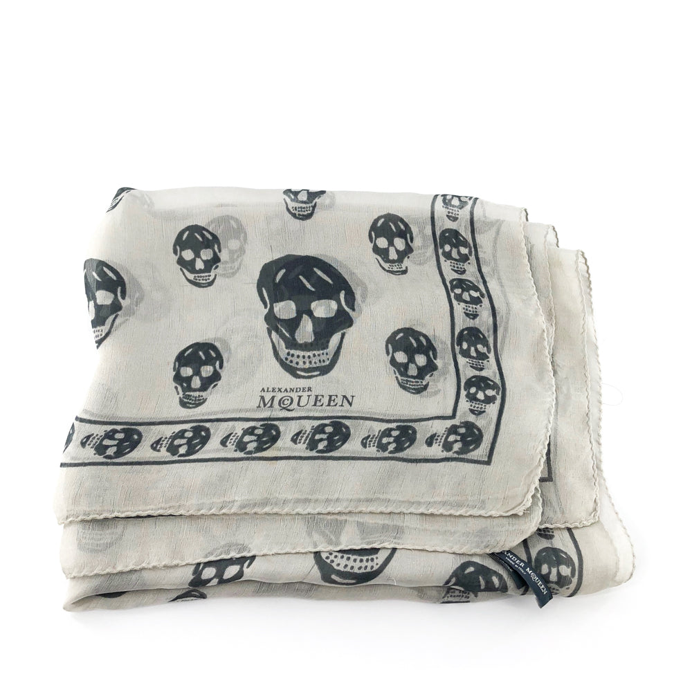 Silk Skull Scarf, White and Gray - Bag Religion