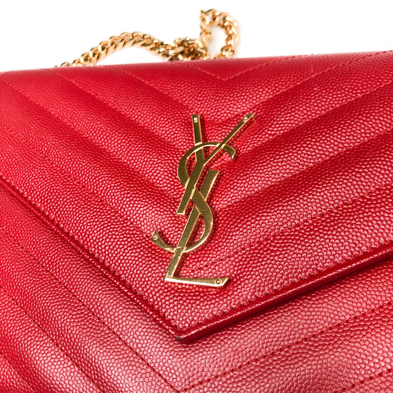 Quilted Monogramme Shoulder WOC bag in Red pebbled leather GHW - Bag Religion