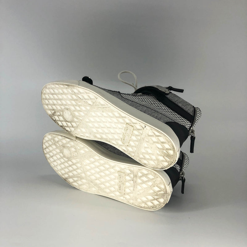 High Top Sneakers in White with Black and Silver Details - Bag Religion