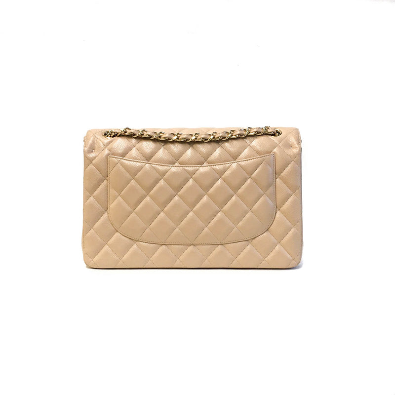 Double Flap Jumbo in Beige Caviar Leather - Bag Religion