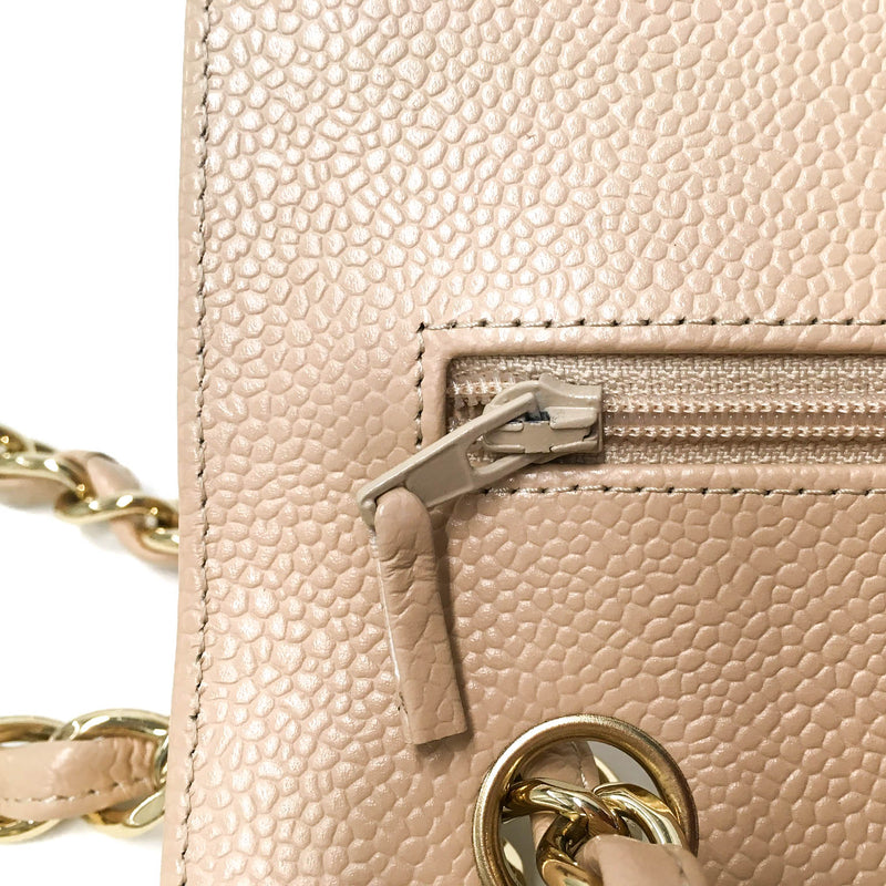 bag-religion Double Flap Jumbo in Beige Caviar Leather