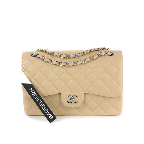Chanel Double Flap M/L Medium Beige Caviar with GHW