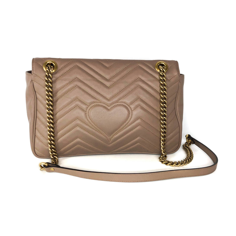 Marmont Matelasse Medium Leather Shoulder Bag in Beige - Bag Religion