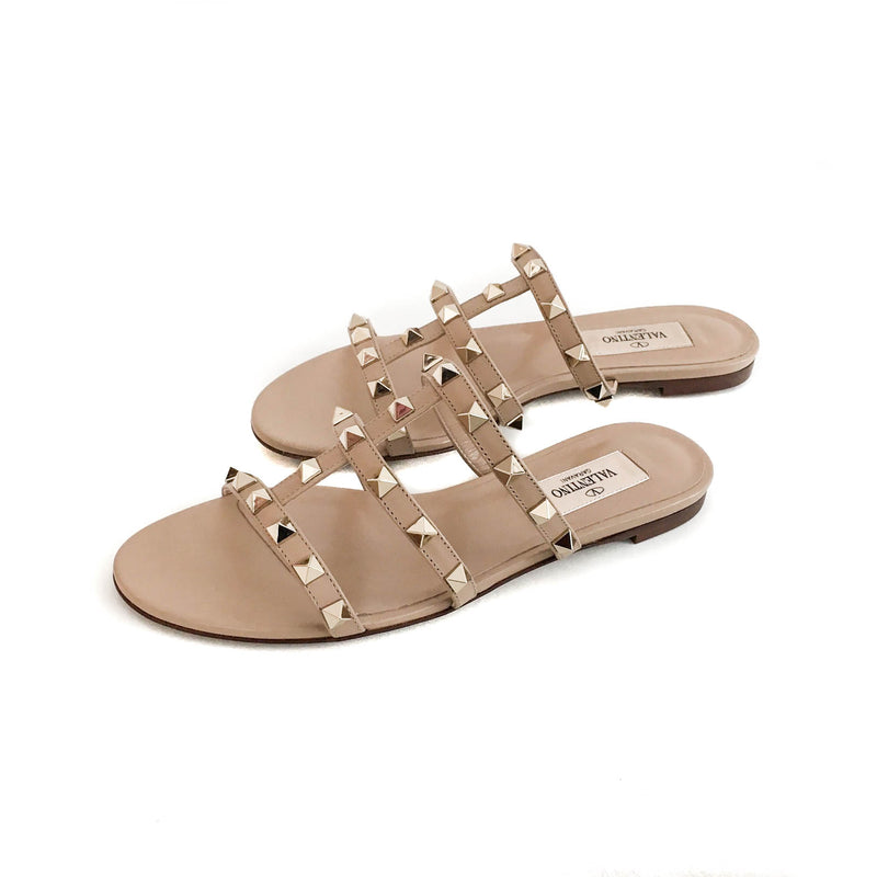 Rockstud Slide Sandal in Sandy Beige - Bag Religion