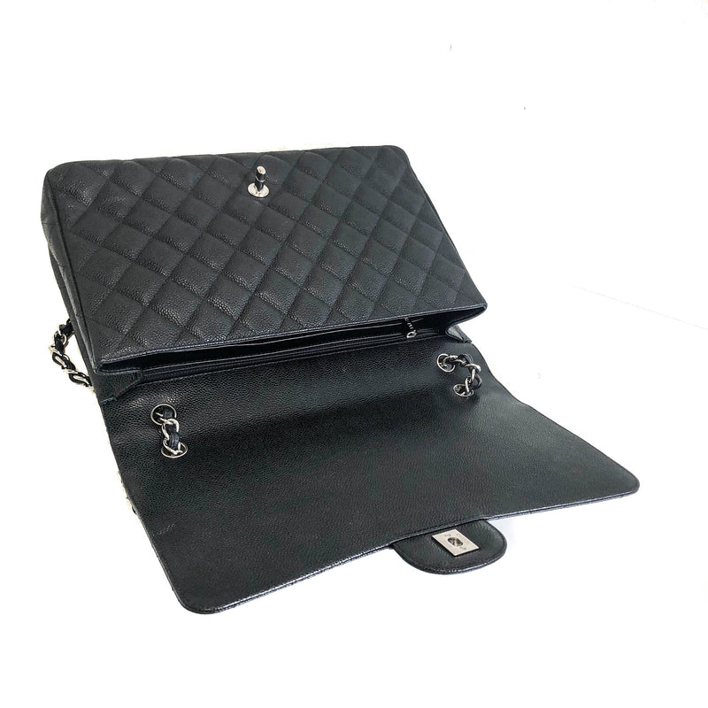 Single Flap Maxi in Black Caviar Leather with Silver Hardware - Bag Religion