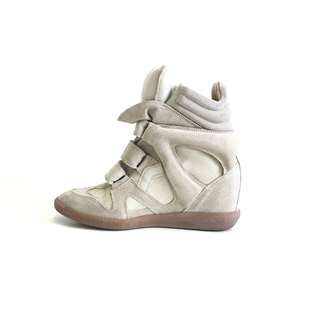 Bekett Leather and Suede Sneakers in Beige Suede - Bag Religion
