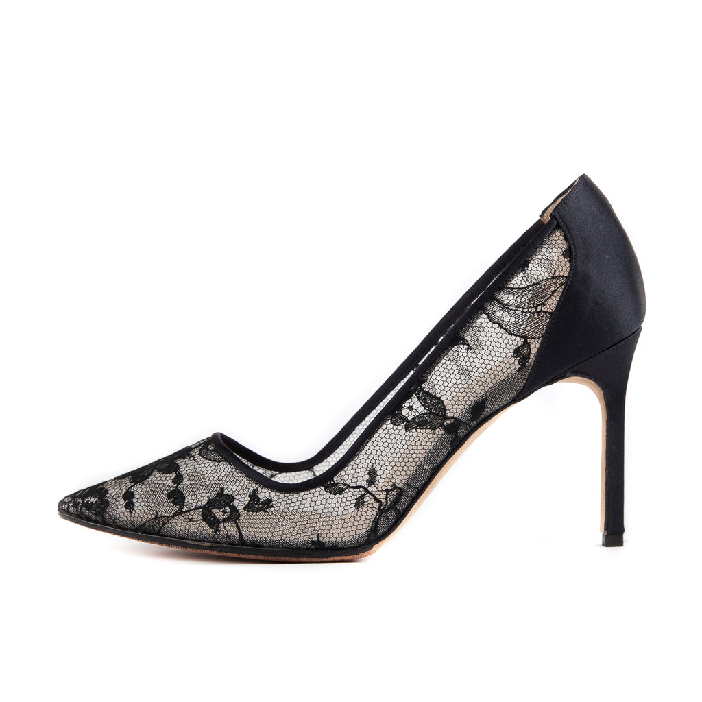 BB Lace Pointed Heels Black - Bag Religion