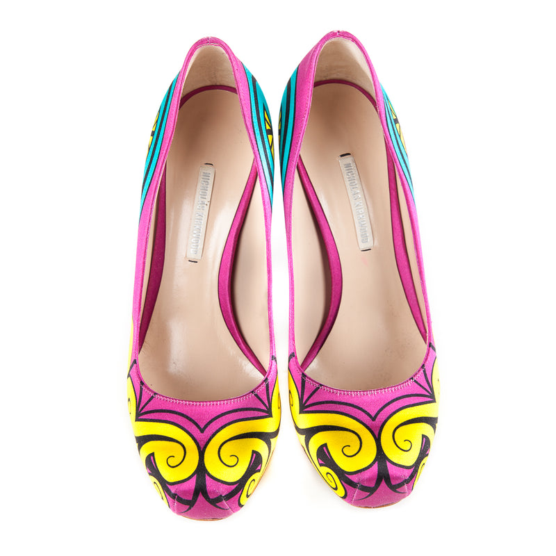 Neon Silk-Satin Graffiti Pumps - Bag Religion