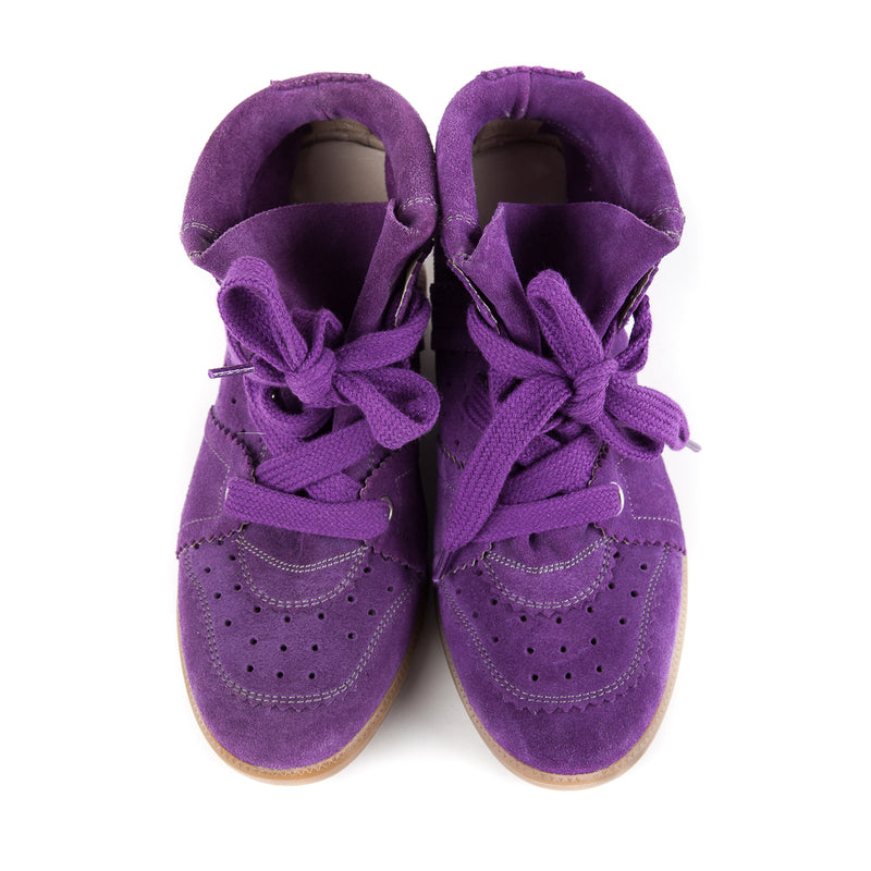 Bobby Concealed Wedge Suede Sneakers Purple - Bag Religion