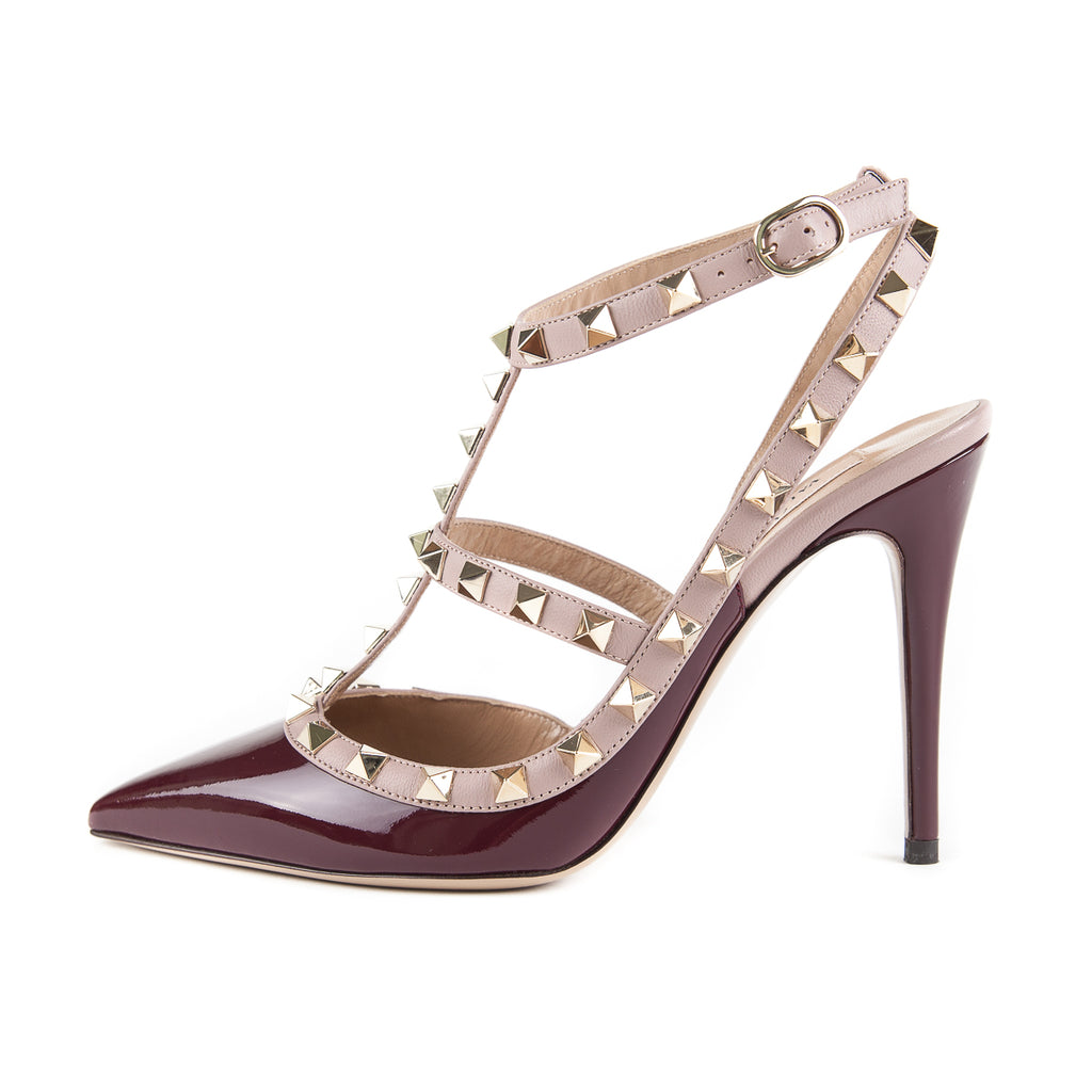 Rockstuds 101 Heels Cream and Maroon - Bag Religion