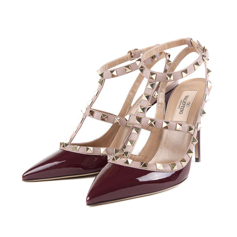 Rockstuds Heels in Cream and Maroon - Bag Religion