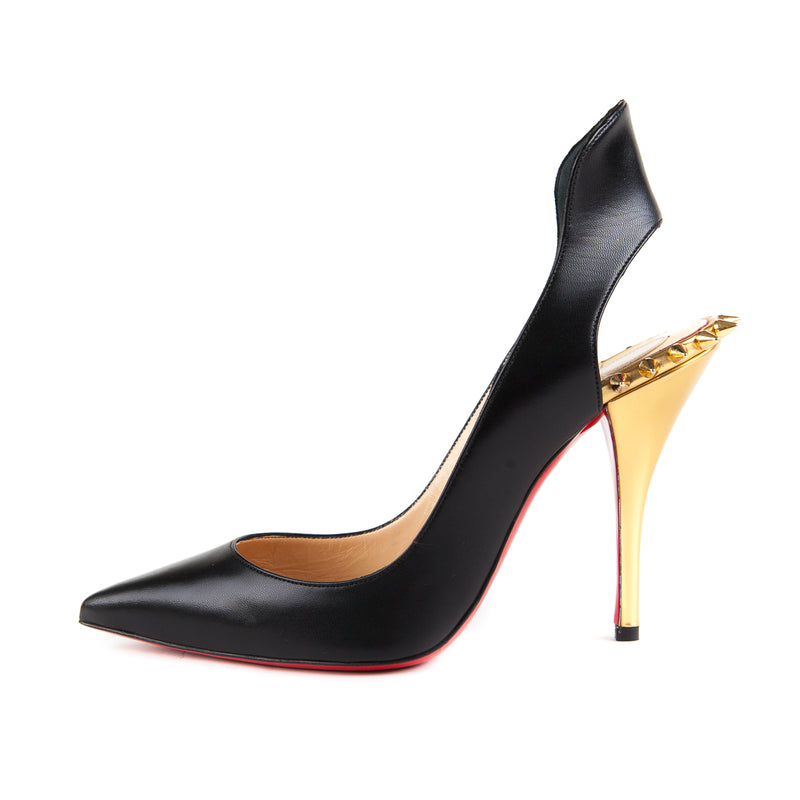 Survivita Spiked Leather Slingback Pumps in Black - Bag Religion
