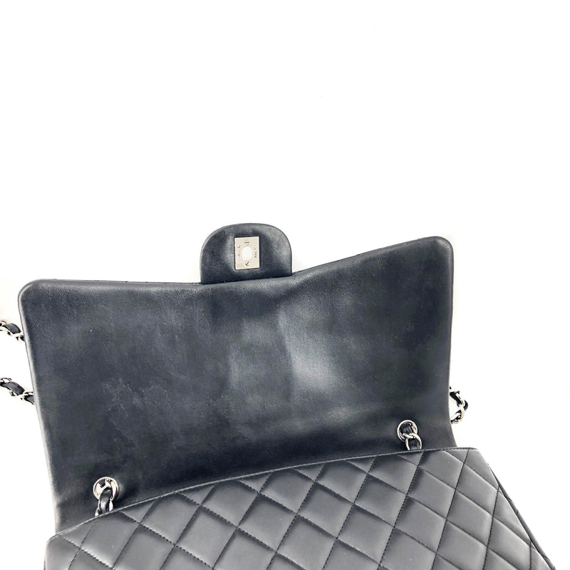 Single Flap Maxi in Black Lambskin Leather with SHW - Bag Religion