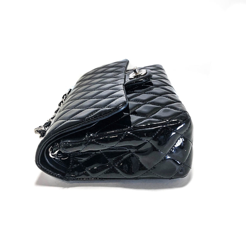 Classic Double Flap Patent Leather M/L in Black - Bag Religion