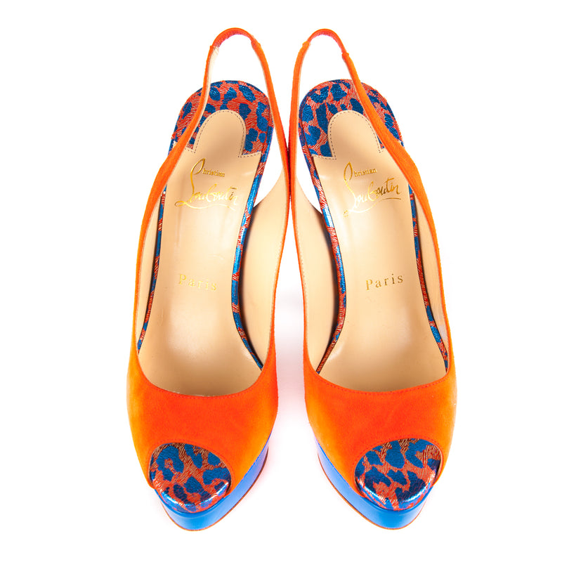Lady Peep Sling 150 Pumps Orange and Blue - Bag Religion