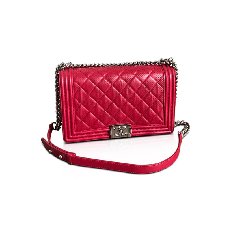 Le Boy Bag in Red Perforated Lambskin New Medium with SHW - Bag Religion