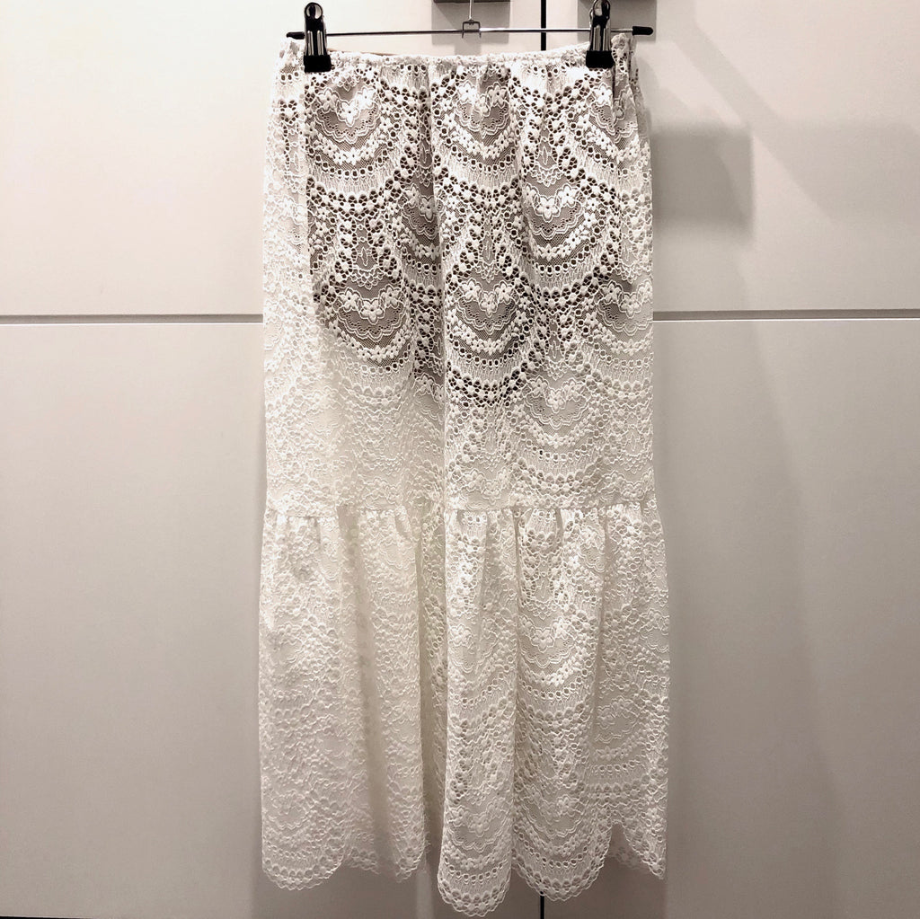 Rosalita Lace Skirt in White - Bag Religion