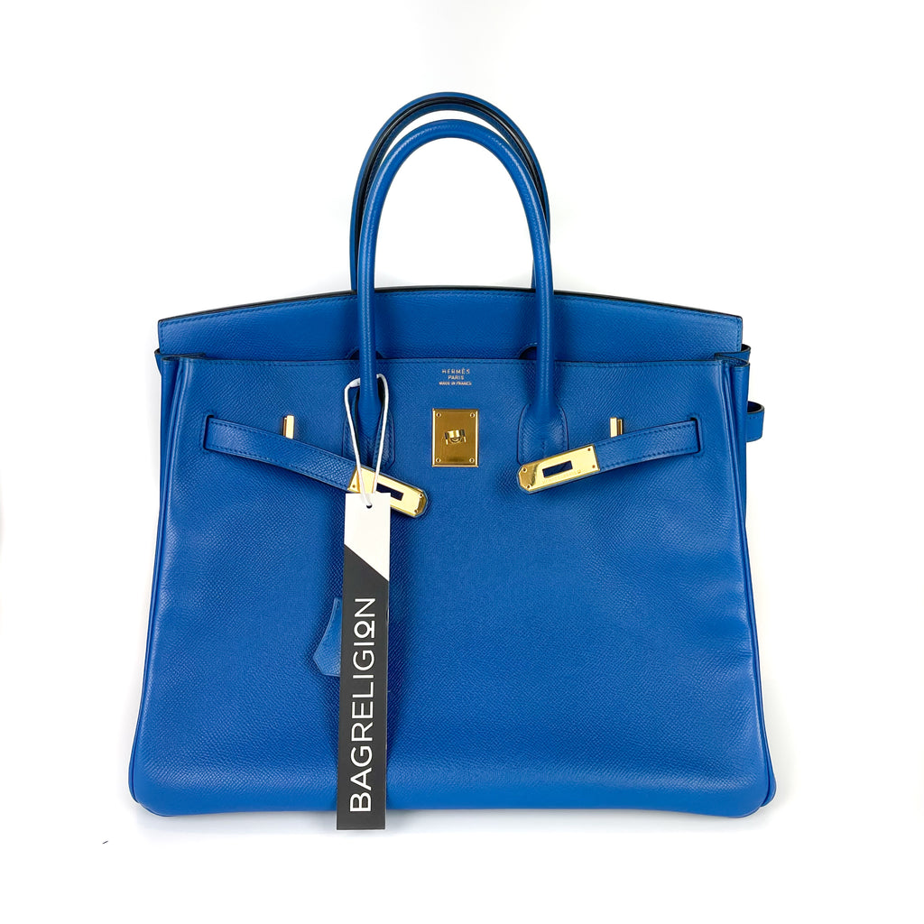 Birkin 35 in Blue Chourchevel Leather