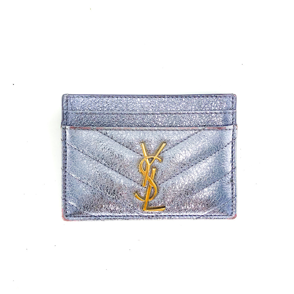 Monogram Card Case in Opalescent Grain de Poudre Embossed Leather - Bag Religion