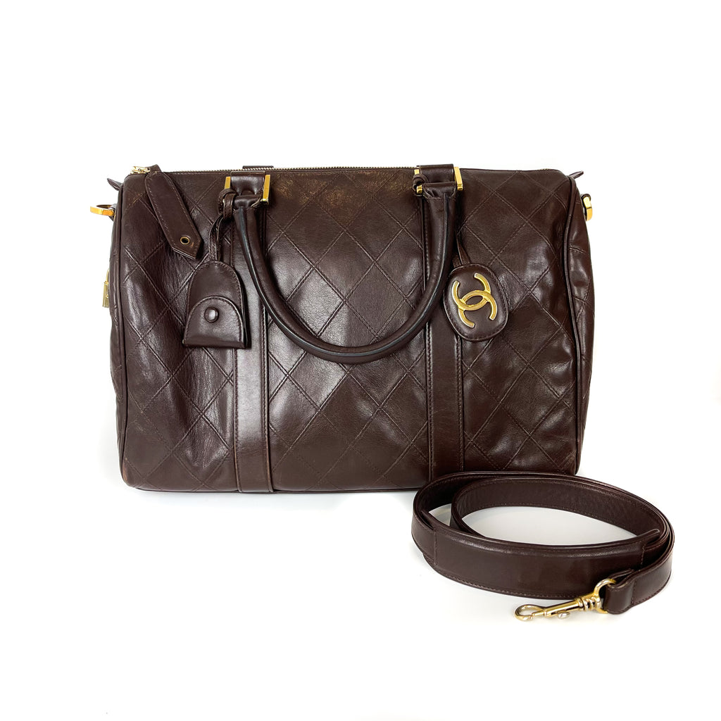 Boston Speedy Brown Quilted Leather Bag