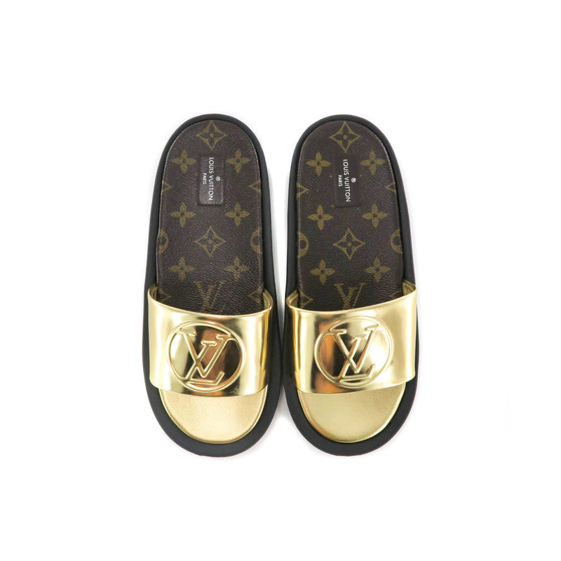 Women's Gold and Canvas Slides - Bag Religion