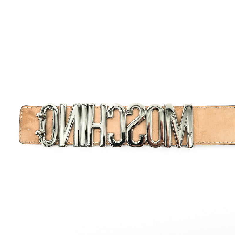 "Silver Logo ''Moschino"" Embellished Leather Belt in Beige - Bag Religion"