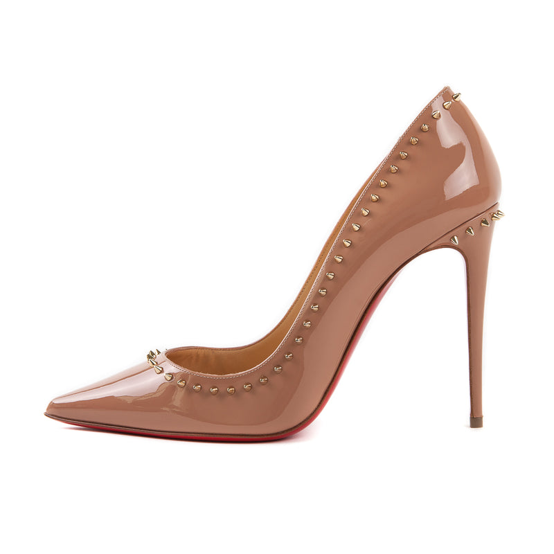 Anjalina Spike Patent Toffee Pump 100mm - Bag Religion